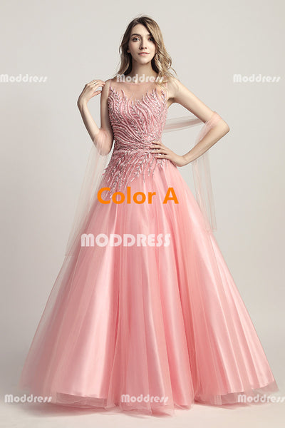 Beaded Long Prom Dresses Sleeveless Evening Dresses Tulle Ball Gowns Formal Dresses