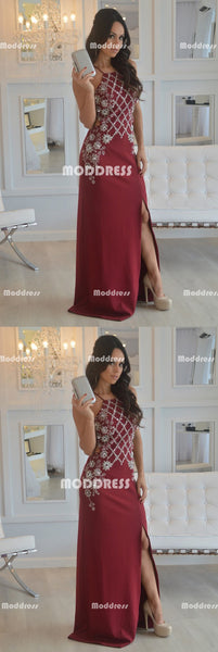 Beaded Long Prom Dresses Sleeveless Evening Formal Dresses with High Slit