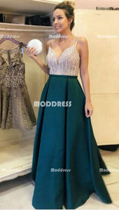 Beaded Long Prom Dresses Spaghetti Straps Evening Dresses Green Satin A-Line Formal Dresses
