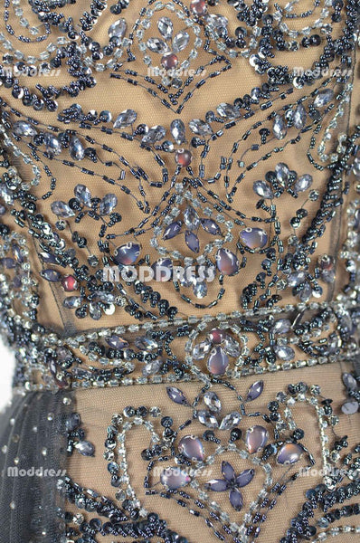 Beaded Long Prom Dresses Tull A-Line Evening Dresses Sleeveless Formal Dresses