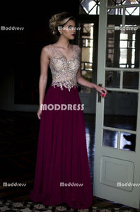 Beaded Long Prom Dresses V-Neck Evening Dresses A-Line Formal Dresses