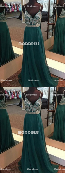 Beaded Long Prom Dresses V-Neck Evening Dresses Backless A-Line Formal Dresses