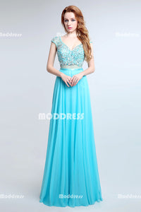Beaded Long Prom Dresses V-Neck Evening Dresses Chiffon A-Line Formal Dresses