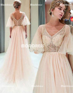 Beaded Long Prom Dresses V-Neck Evening Dresses Half Sleeve A-Line Formal Dresses