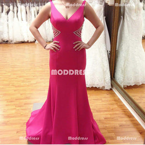 Beaded Long Prom Dresses V-Neck Evening Dresses Mermaid Formal Dresses