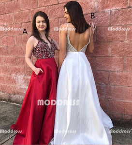 Beaded Long Prom Dresses V-Neck Evening Dresses Satin Spaghetti Straps Formal Dresses