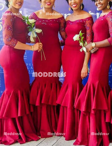 Beaded Mermaid Long Bridesmaid Dresses Sexy Prom Dresses,HS874