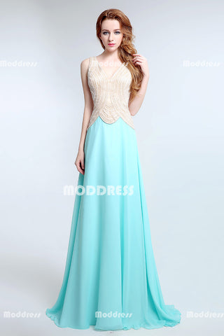 Beaded Pearls Long Prom Dresses V-Neck Evening Dresses Chiffon A-Line Formal Dresses