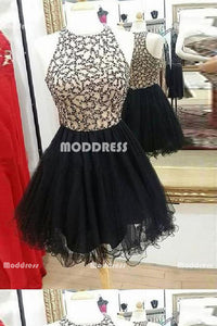Beaded Short Homecoming Dresses Black Sleeveless Short Homecoming Dresses