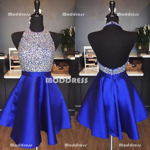 Beaded Short Homecoming Dresses Halter Prom Dresses Backless Evening Formal Gowns,HS924