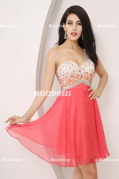 Beaded Short Homecoming Dresses One Shoulder Short Prom Dresses Chiffon Sweetheart Short Formal Dresses