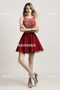 Beaded Short Homecoming Dresses Red Short Prom Dresses Sleeveless Short Homecoming Dresses