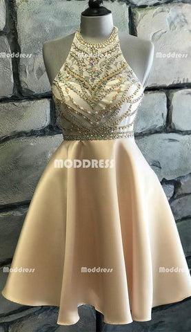 Beaded Short Homecoming Dresses Satin A-Line Short Homecoming Dresses
