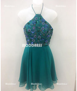 Beaded Short Homecoming Dresses Spaghetti Straps Short Homecoming Dresses Chiffon A-Line Short Homecoming Dresses