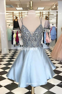 Beaded Short Homecoming Dresses Spaghetti Straps Short Homecoming Dresses Satin V-Neck Short Homecoming Dresses