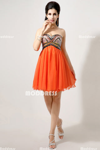 Beaded Short Homecoming Dresses Sweetheart Evening Dresses Strapless Organza Formal Dresses