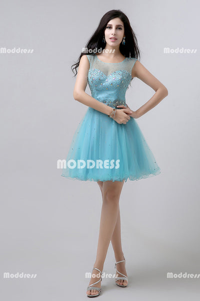 Beaded Short Homecoming Dresses Tulle A-Line Evening Formal Dresses