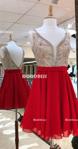 Beaded Short Homecoming Dresses V-Neck Short Homecoming Dresses Red Chiffon Short Homecoming Dresses