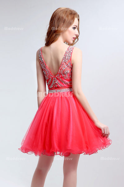 Beading Homecoming Dresses Rhinstones Short Prom Dresses Knee Length Sleeveless Formal Dresses