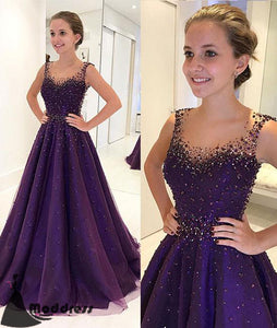 Beading Long Prom Dress Purple Scoop Evening Dress A-line Formal Dress,HS554