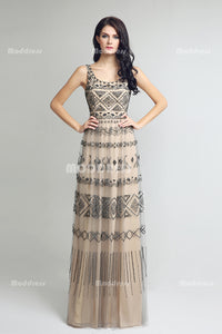 Beading Long Prom Dresses A-Line Evening Dresses Backless Sleeveless Formal Dresses