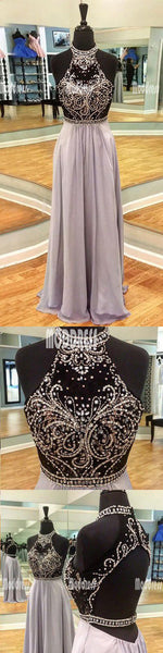 Beading Long Prom Dresses Backless A-Line Evening Formal Dresses,HS957