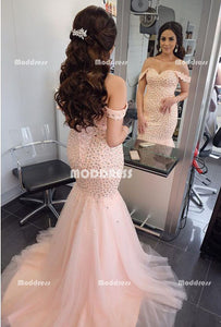 Beading Long Prom Dresses Off the Shoulder Evening Dresses Mermaid Formal Dresses