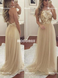Elegant Long Prom Dresses Tulle A-Line Evening Dresses Backless Formal Dresses