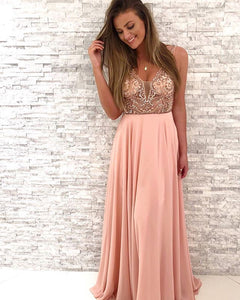 Beading Long Prom Dresses V-Neck Evening Dresses A-Line Formal Dresses