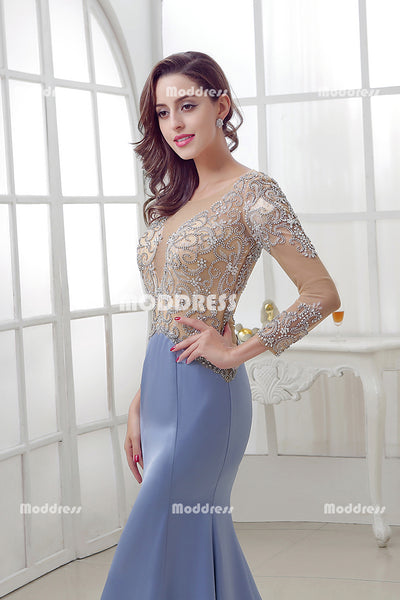 Beading Mermaid Long Prom Dresses Long Sleeve Satin Evening Dresses Tulle Formal Dresses,LX287