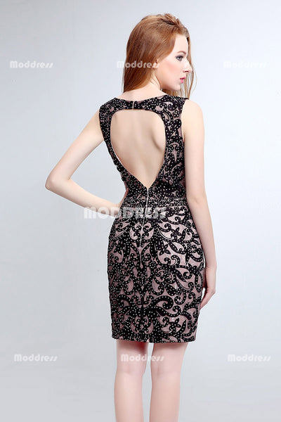 Beading Short Peom Dresses Knee Length Evening Dresses Sleeveless Backless Formal Dresses