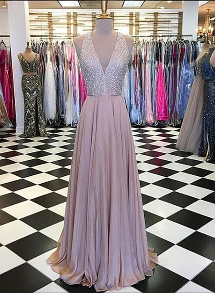 Beading V-Neck Long Prom Dresses Sleeveless Evening Dresses A-Line Formal Dresses,HS764