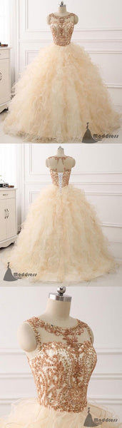 Beading Wedding Dress Scoop Ball Bridal Gowns Long Prom Dress Evening Dress,HS375
