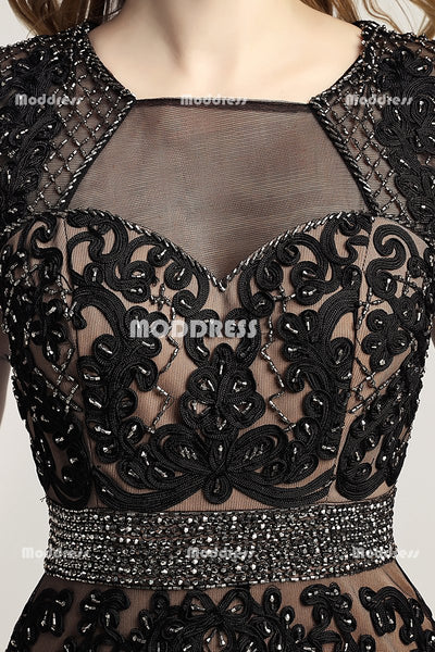 Black Applique Long Prom Dresses Beaded Evening Dresses Mermaid Backless Formal Dresses