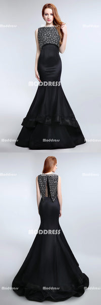 Black Beaded Long Prom Dresses Mermaid Evening Dresses Sleeveless Formal Dresses
