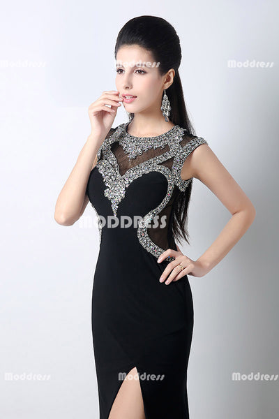 Black Beaded Long Prom Dresses Mermaid Evening Dresses Sleeveless Formal Dresses with High Slit