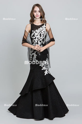 Black Lace Long Prom Dresses Mermaid Evening Dresses Applique Formal Dresses