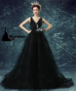 Black Long Prom Dress V-Neck Evening Dress Tulle Formal Dress,HS535