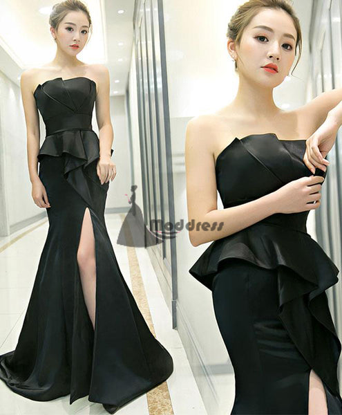 Black Long Prom Dress Mermaid Evening Dress Strapless Formal Dress with High Slit.