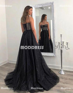 Black Long Prom Dresses Sweetheart Evening Dresses A-Line Formal Dresses