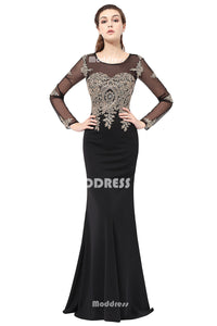 Black Mermaid Long Prom Dresses Applique Beaded Evening Dresses Long Sleeve Formal Dresses