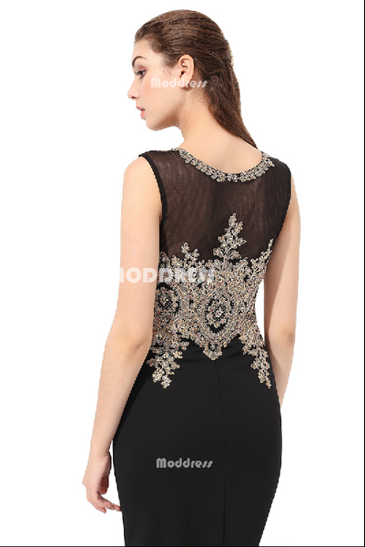 Black Mermaid Long Prom Dresses Applique Beaded Evening Dresses Sleeveless Formal Dresses