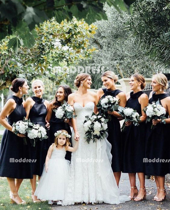 Black Short Bridesmaid Dresses A-Line Bridesmaid Dresses,HS940