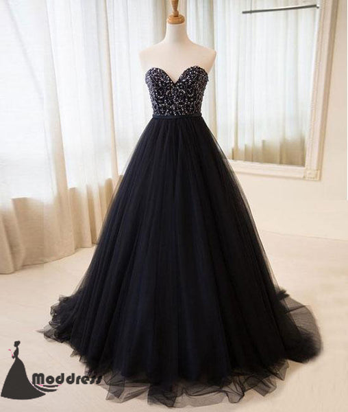 Black Sweetheart Long Prom Dress Beading Tulle A-Line Evening Dress,HS403