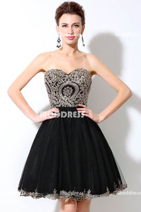 Black Sweetheart Short Homecoming Dresses Applique Beaded Short Prom Dresses A-Line Tulle Short Prom Dresses