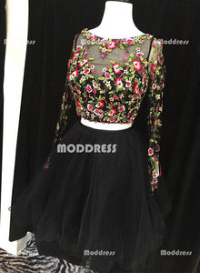 Black Two Pieces Short Homecoming Dresses Applique Prom Dresses Tulle Evening Formal Dresses,HS889