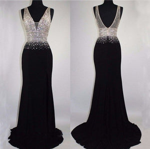 5c470aacc450 Black V-Neck Prom Dresses Mermaid backless Sparkly Shining Gorgeous Evening  Dress,HS253