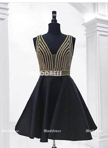 Black V-Neck Short Prom Dresses Beading Prom Dresses Knee Length Evening Formal Dresses,HS820