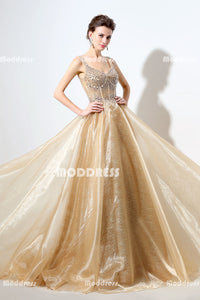 Bling Beaded Long Prom Dresses Gold A-Line Evening Dresses Spaghetti Straps Backless Formal Dresses
