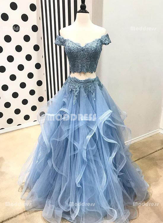 Blue 2 Pieces Lace Homecoming Dresses V-Neck Long Prom Dresses Off the Shoulder Evening Formal Dresses,HS781